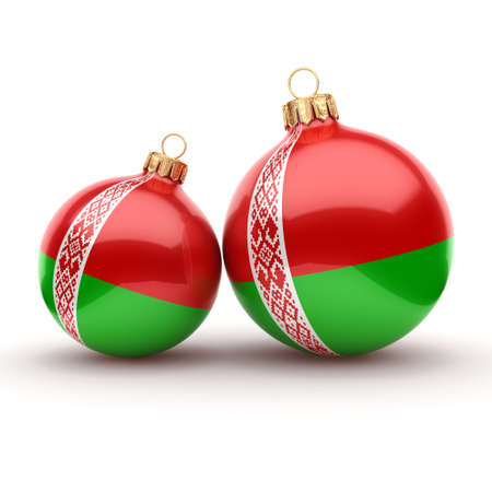 3D rendering Christmas ball decorated with the flag of Belarus 写真素材