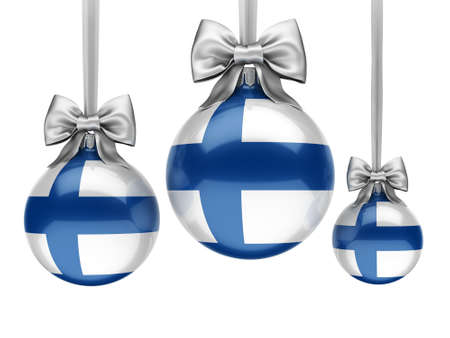 3D rendering Christmas ball decorated with the flag of Finland Stock Photo