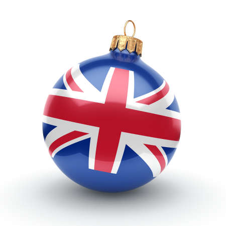 britannia: 3D rendering Christmas ball decorated with the flag of Great Britain