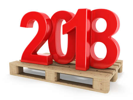 3D rendering 2018 New Year red digits worth on a pallet