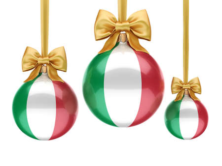 3D rendering Christmas ball decorated with the flag of Italy