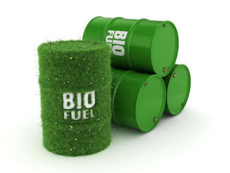 3D-rendering vaten bedekt met groene gras met biobrandstoffen Stockfoto