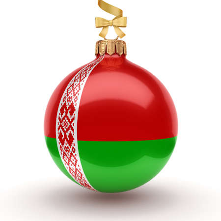 3D rendering Christmas ball decorated with the flag of Belarus Foto de archivo