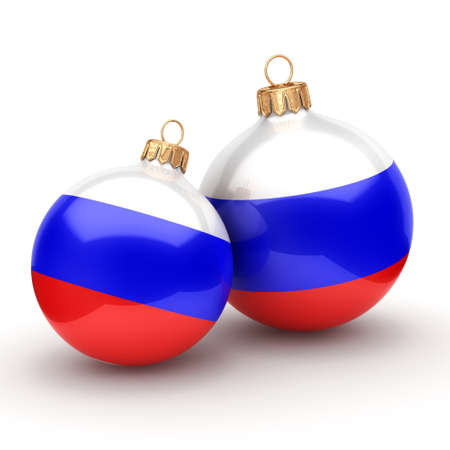 3D rendering Christmas ball decorated with the flag of Russia