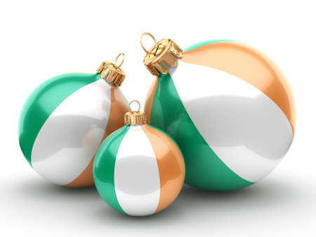 3D rendering Christmas ball decorated with the flag of Ireland Stock Photo