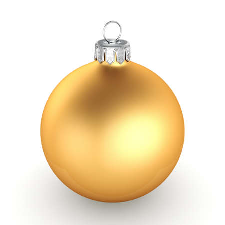 3D rendering golden Christmas ball on a white background