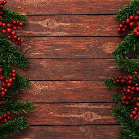 3D rendering dark christmas wooden background with branches of fir and holly berries