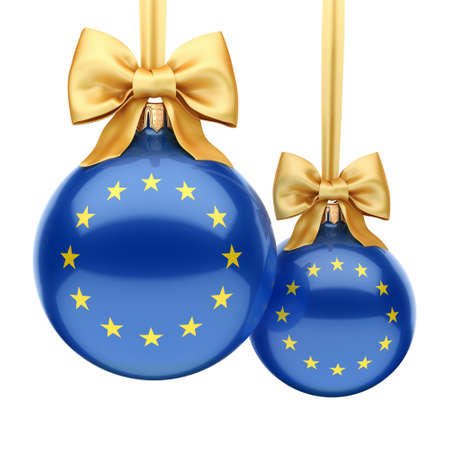 3D rendering Christmas ball decorated with the flag of European union Stock Photo