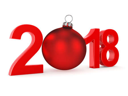 3D rendering 2018 New Year red digits with a red christmas ball Stock Photo