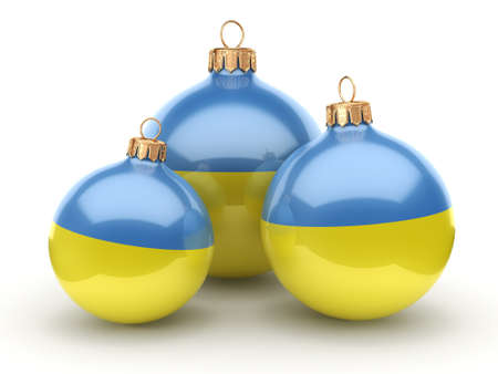 3D rendering Christmas ball decorated with the flag of Ukraine
