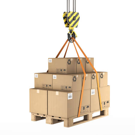 unloading: 3D rendering of a crane hook with a load of cardboard boxes on a pallet