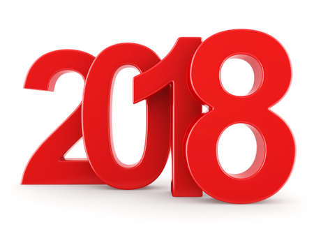 3D rendering 2018 New Year red digits isolated on white background