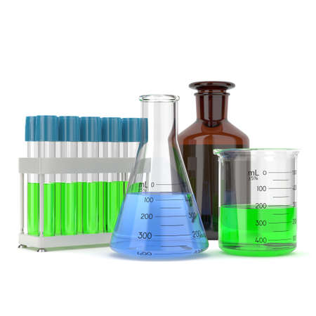 reagent: 3D rendering a set of chemical utensils filled with pure green and blue liquid Stock Photo