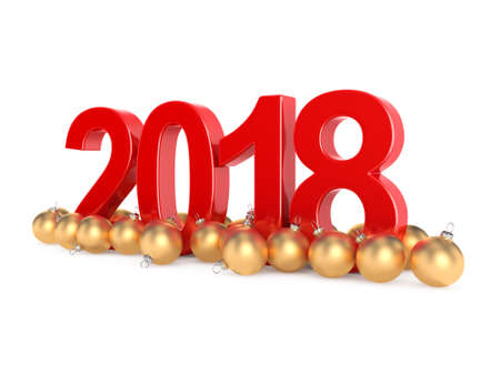 3D rendering 2018 New Year red digits with a golden christmas balls