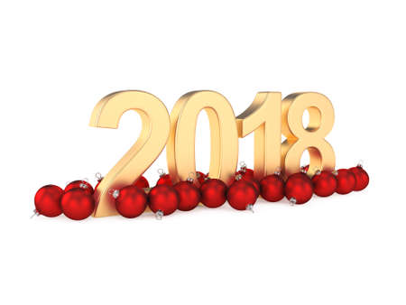 3D rendering 2018 New Year gold digits with a red christmas balls