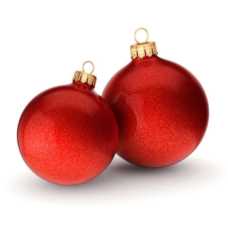 3D rendering red Christmas balls on a white background