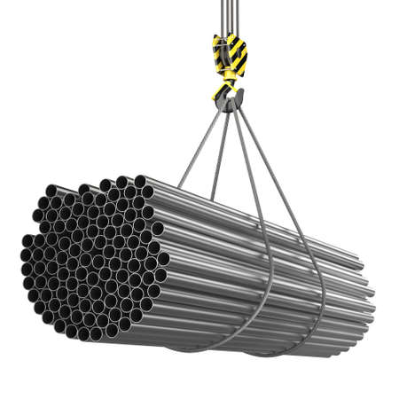 3D rendering of a crane hook with a load of metal rolled products Stockfoto