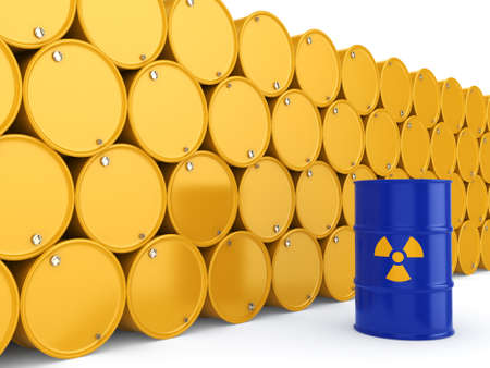 3D rendering yellow and blue barrels with radioactive materials