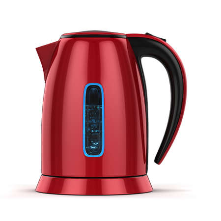 3D rendering electric kettle of red color on a white background Stock Photo