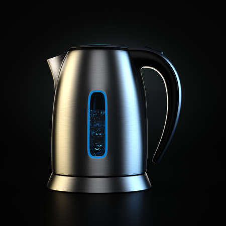3D rendering electric kettle of silver color on a black background