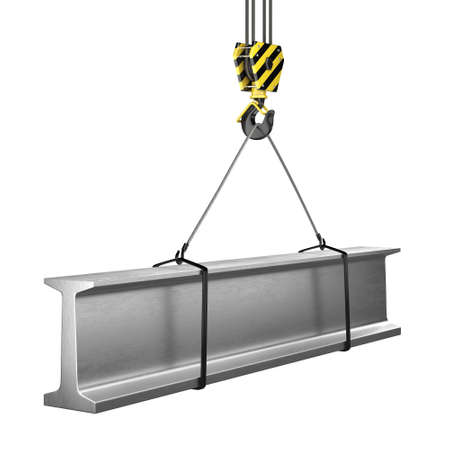3D rendering of a crane hook with a load of metal rolled products Фото со стока
