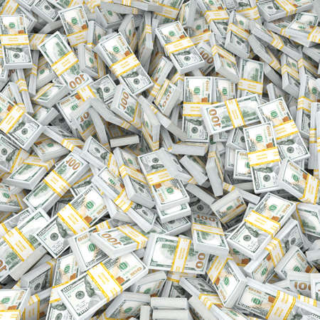 3d rendering lots of packs of US dollars in high quality Stock Photo