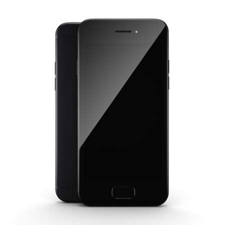 3D rendering black matt smart phone with black screen isolated on white background