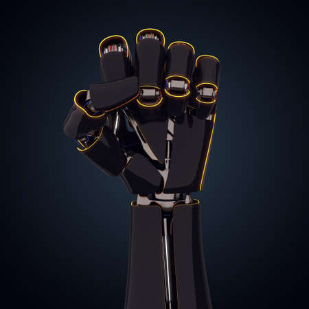 3D rendering robotic hand on a dark background