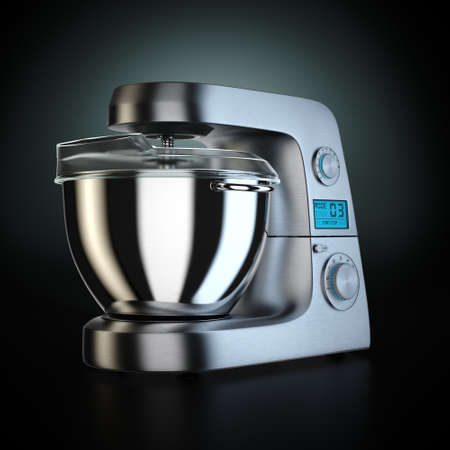 3D rendering food processor on a black background Stockfoto