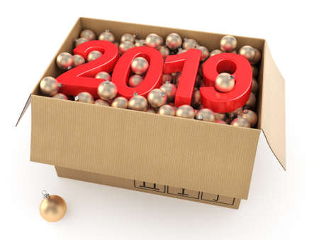 3D rendering 2019 New Year red digits with a cardboard box of golden Christmas balls
