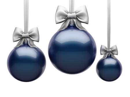 3D Rendering Dark Blue Christmas Ball on White Background