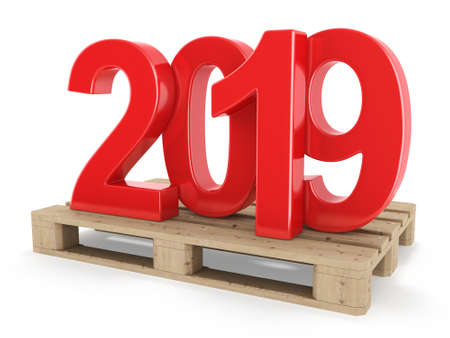 3D rendering 2019 New Year red digits worth on a pallet