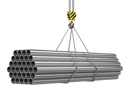 3D rendering of a crane hook with a load of metal rolled products Stock fotó
