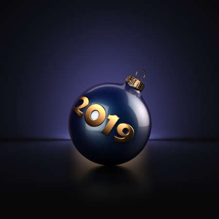 3D Rendering Dark Blue Christmas Ball on Dark Background