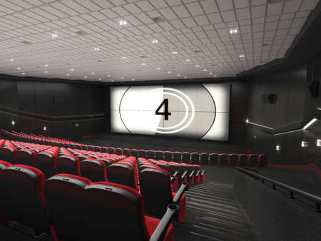 3D rendering modern cinema with red chairs