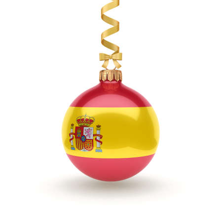 3D rendering Christmas ball decorated with the flag of Spain Stockfoto