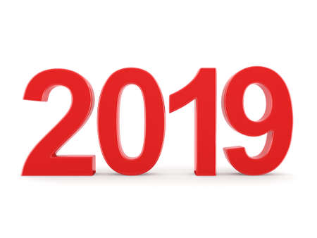 3D rendering 2019 New Year red digits isolated on white background Stockfoto