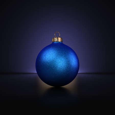 3D Rendering Blue Christmas Ball on Dark Background