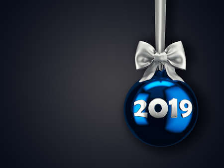 3D Rendering Christmas ball on a dark background with the inscription 2019