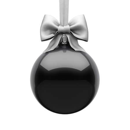 3D Rendering Black Christmas Ball on White Background