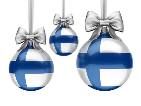 3D rendering Christmas ball decorated with the flag of Finland Stockfoto