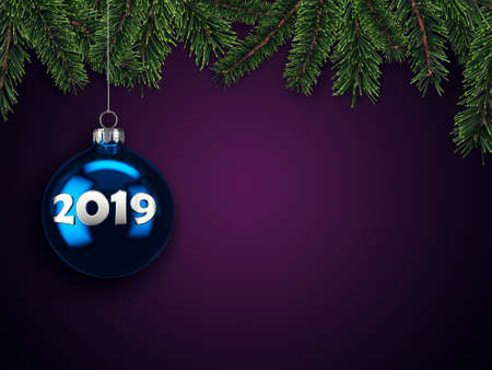 3D Rendering Christmas card with a Christmas ball with the inscription 2019