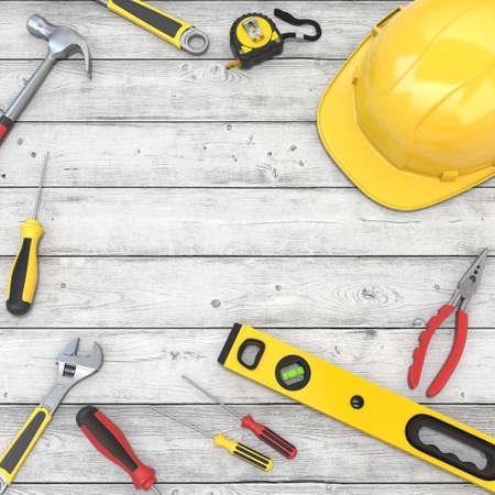 3D rendering set of hand tools for repair