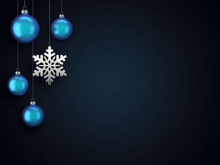3D Rendering Christmas Card with Baubles and Snowflake Stockfoto