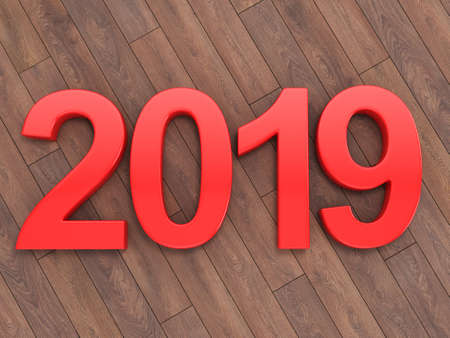 3D rendering 2019 New Year red digits lying on a wooden surface