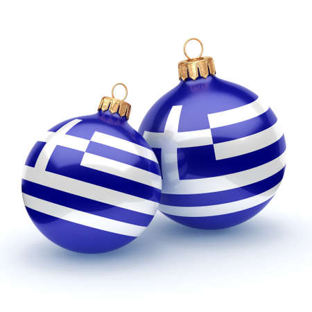3D rendering Christmas ball decorated with the flag of Greece