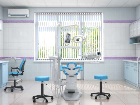 3D rendering modern dentists office in light colors Stok Fotoğraf