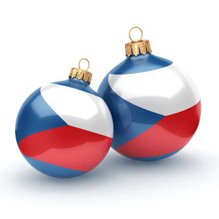 3D rendering Christmas ball decorated with the flag of Czech Republic