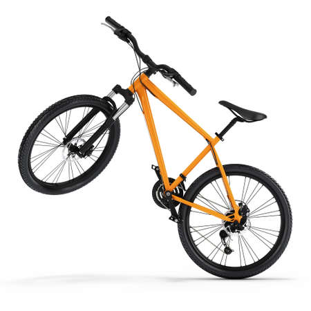 3D Rendering Mountain Bike on a White Background