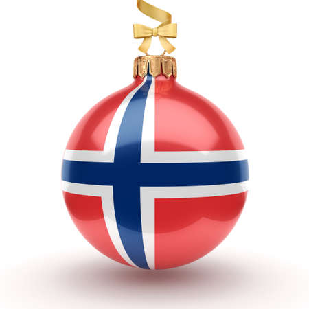 3D rendering Christmas ball decorated with the flag of Norway Фото со стока